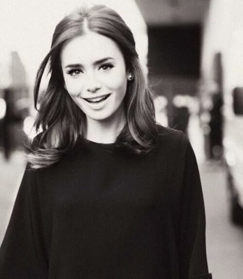 lilly collins shoulder length hairstyles