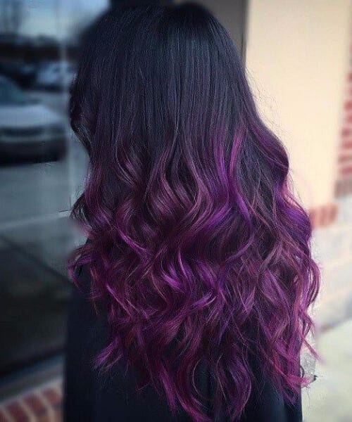 long black with reddish purple ombre hair