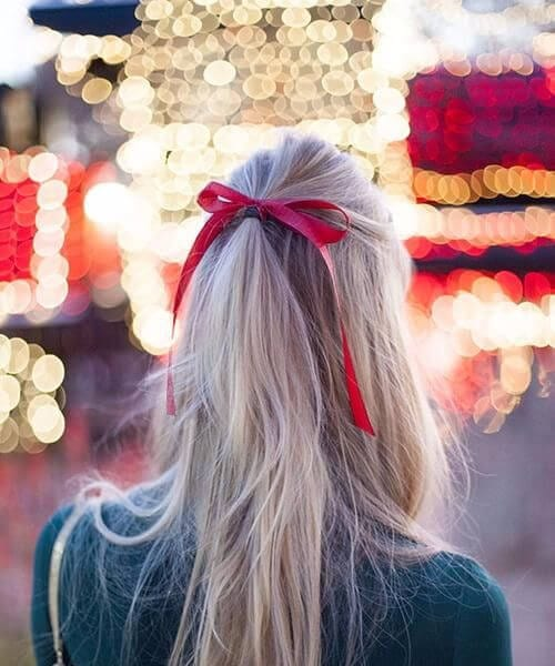 long hair red bow homecoming hairstyles