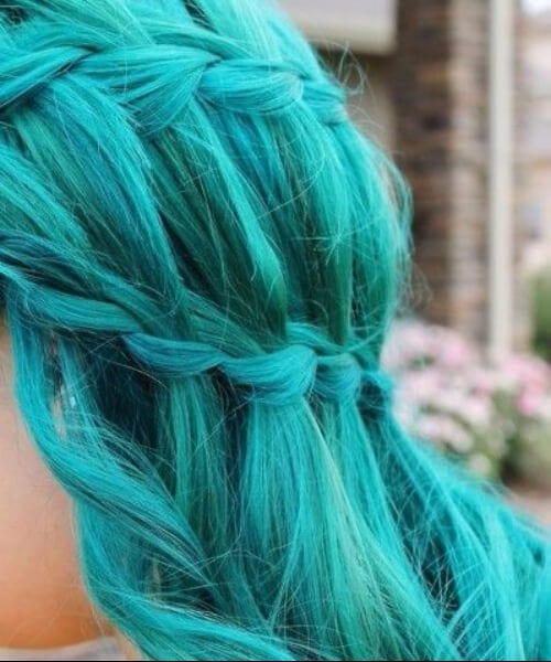 side view of girl with mermaid hair