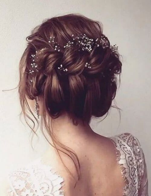 messy twisted updo wedding hairstyle with dainty hair accessories updos for long hair