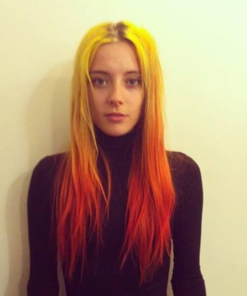 neon yellow, orange, and red ombre hair