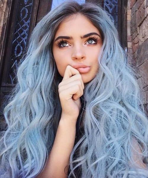 pastel light indigo mermaid hair
