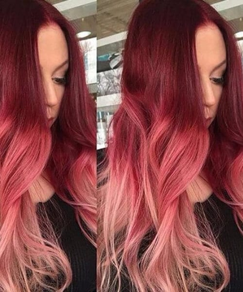 pink red ombre hair