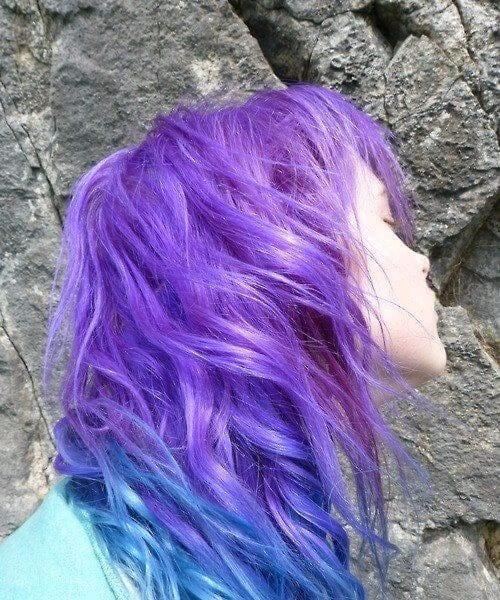 purple ombre hair blue