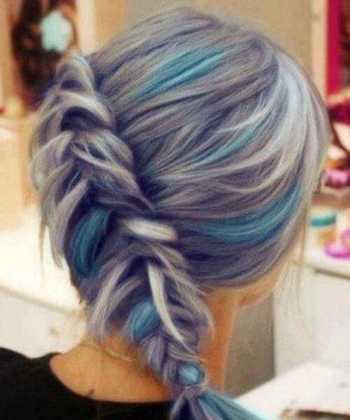 purple ombre hair fishtail braid