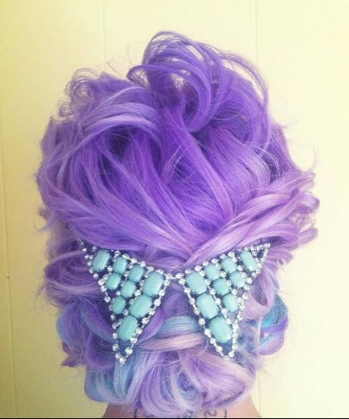 purple ombre hair turquoise hair piece