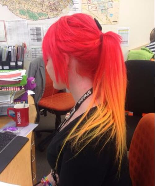 red ombre hair fire neon hair