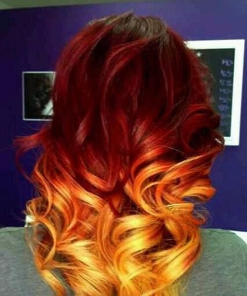 red ombre hair orange and yellow