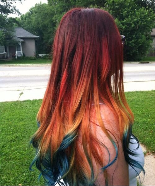 red ombre hair with ocean blue