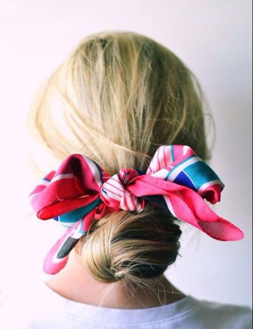 road trip bun colorful scarf hairdos for long hair