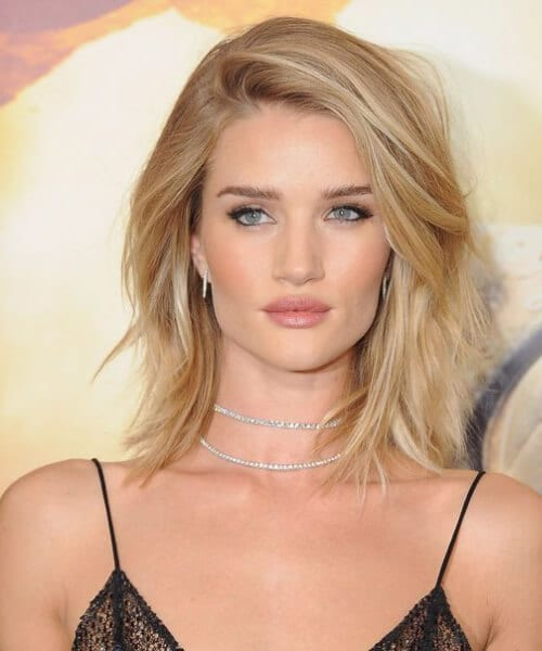 rosie huntington whiteley shoulder length hairstyles
