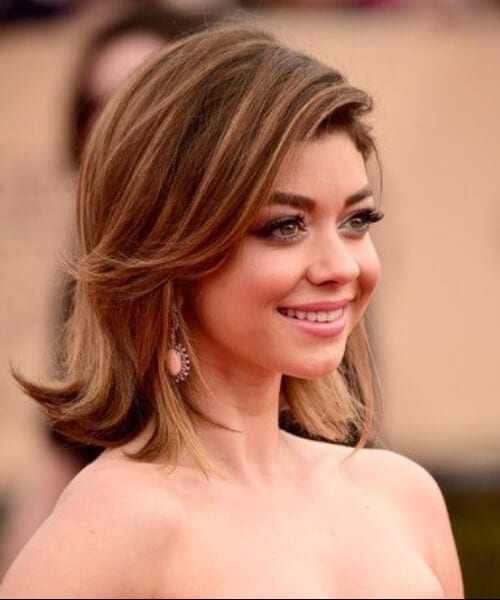 sarah hyland cute flip shoulder length hairstyles