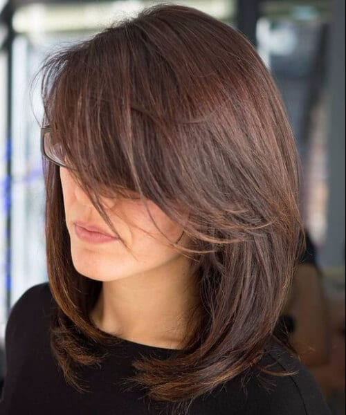 side swept bangs shoulder length hairstyles