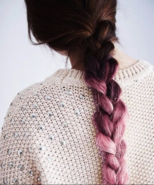 simple braid purple ombre hair