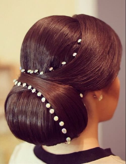 sleek formal chignon updos for long hair