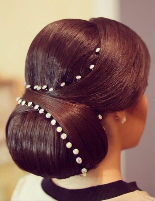 sleek formal chignon updos for long hair