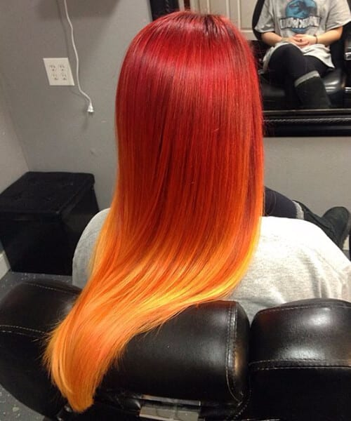 sunset red ombre hair