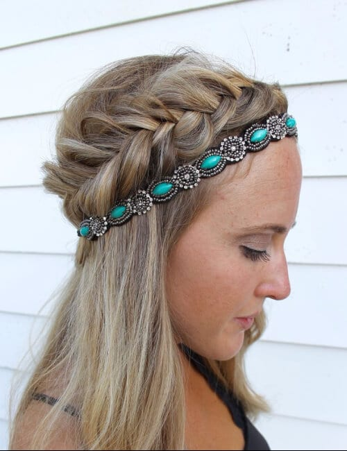 teal embellishment head band updos for long hair