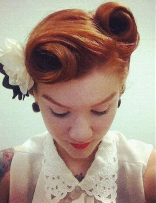 victory rolls and flower updos for long hair