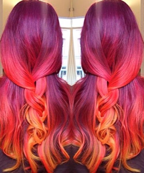 wine plum to red plum to peach to yellow orange! sunset mermaid hair