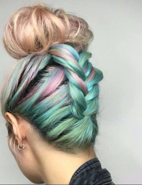 Braided up rainbow dyed bun hair bridesmaid hairstyles