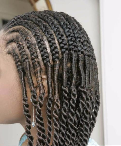 Cornrowed Braids accented with Silky Locs and Senegalese Twist