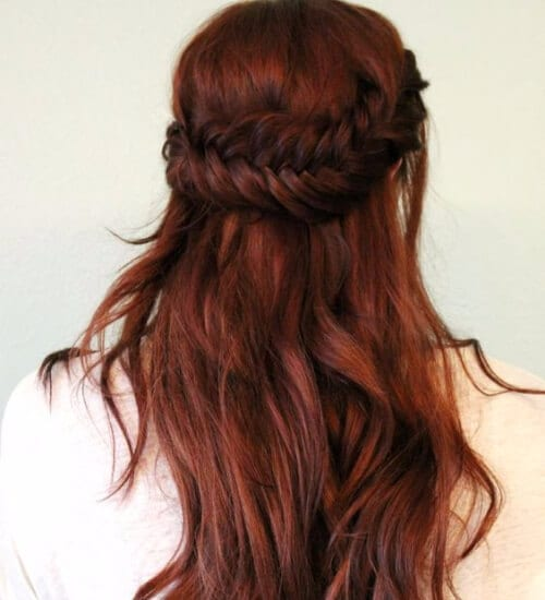 Half Up Fishtail auburn hair color