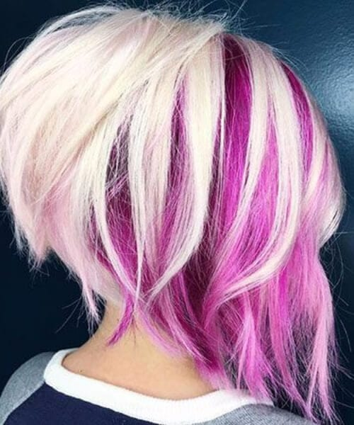 Psychedelic purple and white updos for short hair