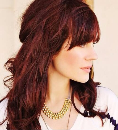 auburn hair color and bangs