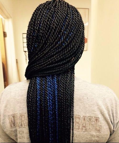 black and blue peekaboos senegalese twist