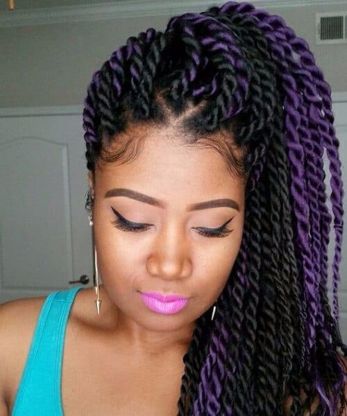 black and purple senegalese twist