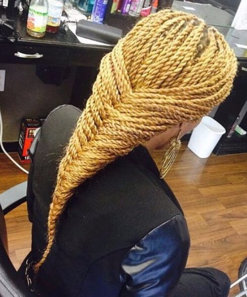 blonde intricate braid made from senegalese twist
