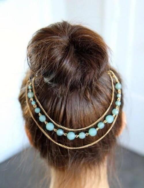 blue chain bridesmaids hairstyles