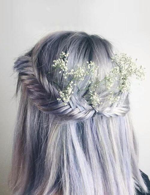 blue hair bridesmaids hairstyles