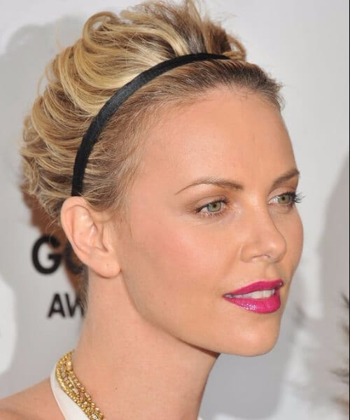 charlize theron updos for short hair
