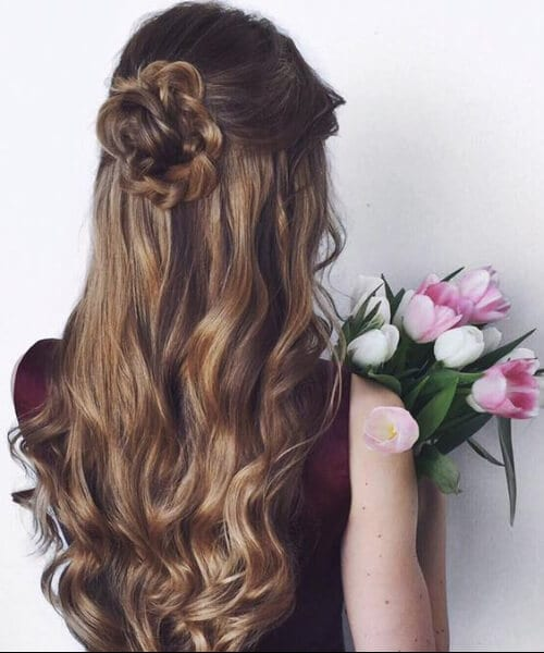 dirty blonde flowers prom updos