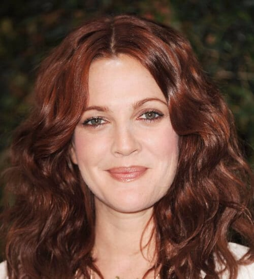 drew barrymore auburn color hair