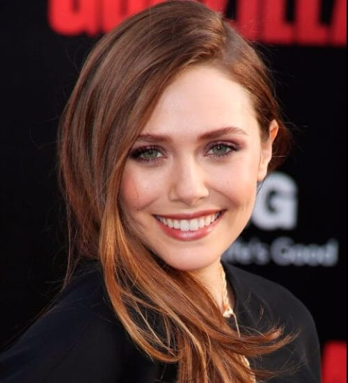 elizabeth olsen side sweep auburn hair