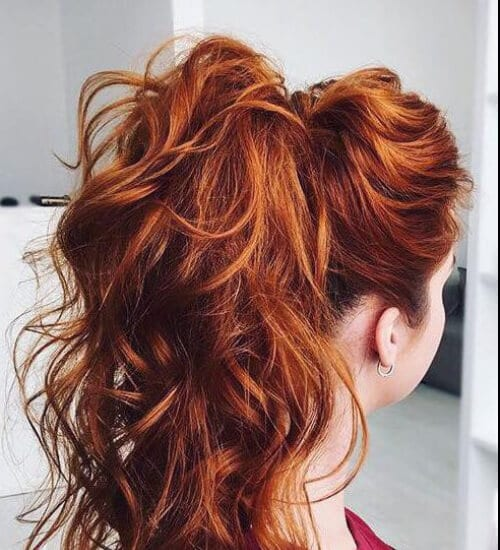 firey red ponytail auburn hair color