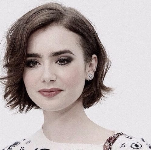 lily collins haircuts for round faces