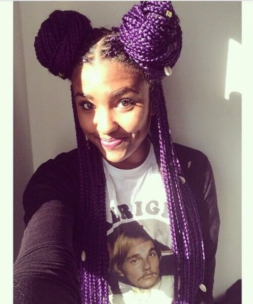 purple boxed braids sew in hairstyles
