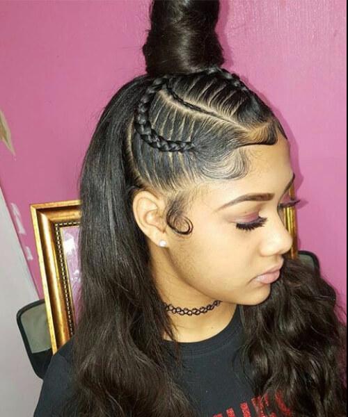 queen top bun sew in hairstyles