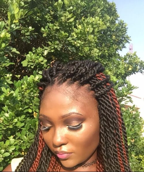 red and black senegalese twist