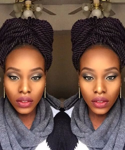senegalese twist turban hairstyle