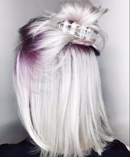 short blonde hair icy platinum purple roots