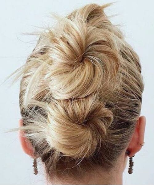 three stacked buns updos for short hair