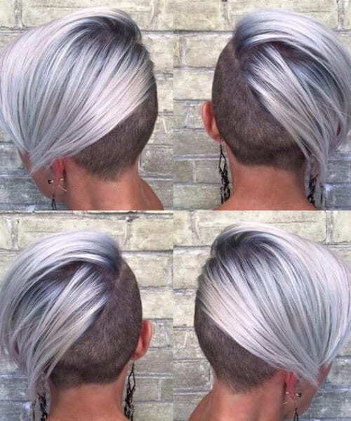 Cool, Crisp Blonde Undercut pixie. Platinum, rooted, silver short blonde hair