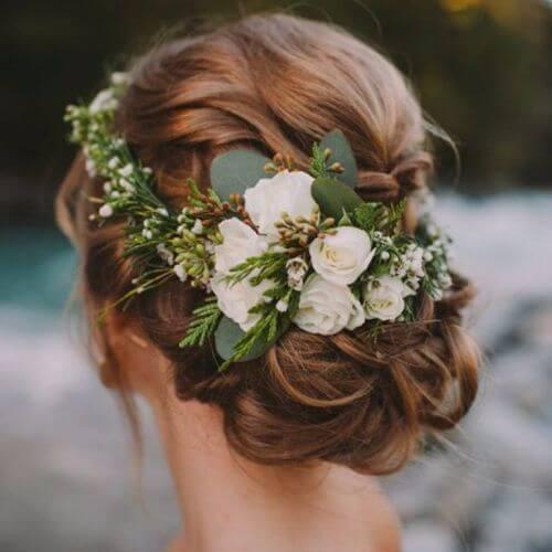 Wedding Updos Low Bun with Floral Headband