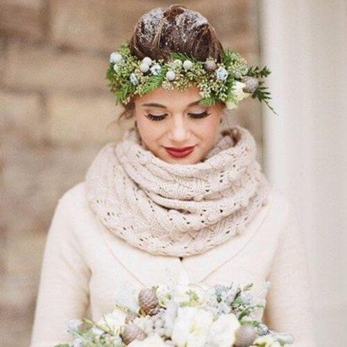 Wedding Updos Winter Flower Bride